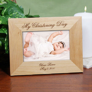 Personalized My Christening Day Wood Picture Frame