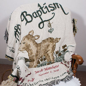 Embroidered Baptism Throw | Personalized Baby Gifts
