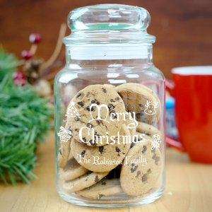 Engraved Happy Holidays Glass Jar Gift