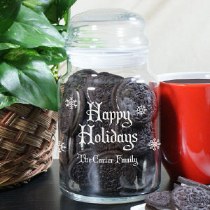 Personalized Happy Holidays Glass Jar