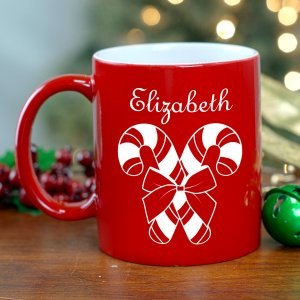 Candy Cane Engraved Red Mug