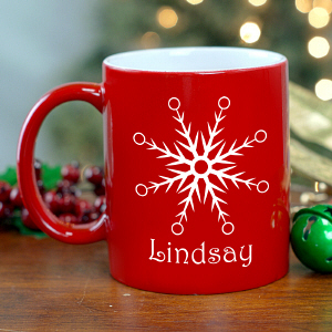 Snowflake Engraved Red Mug