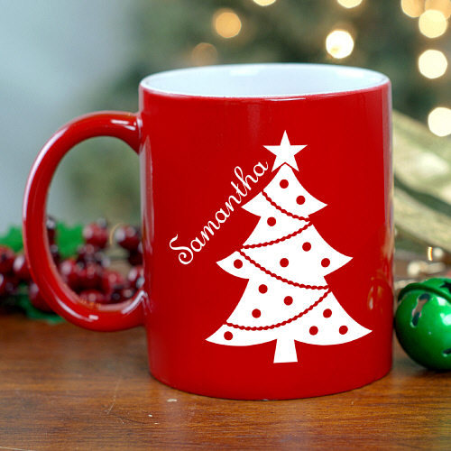 Christmas Tree Engraved Red Mug 279893