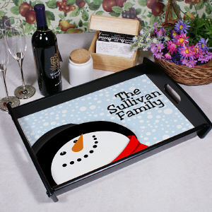 Snowman Tray with Family Name