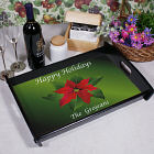 Personalized Poinsettia Holiday Serving Tray