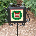 Personalized Holly Leaves and Berries Garden Stake