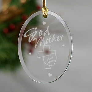 Godmother Personalized Oval Glass Ornament 817394