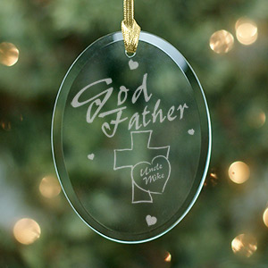 Godfather Personalized Oval Glass Ornament 817404