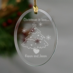 Christmas is Love Personalized Couples Ornament