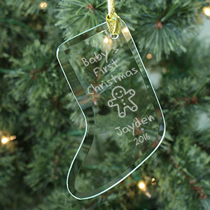 Baby's 1st Christmas Personalized Glass Stocking Ornament | Baby's First Christmas Ornaments
