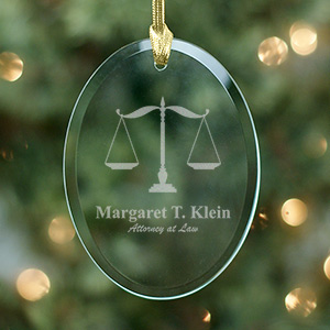 Lawyer Engraved Oval Glass Ornament 827074