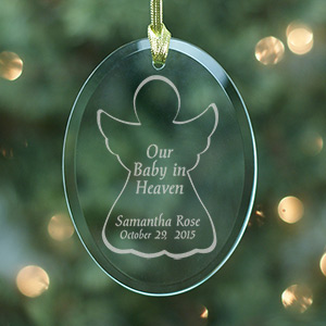 Engraved Baby In Heaven Oval Glass Ornament 830184
