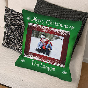 Custom Photo Christmas Throw Pillow