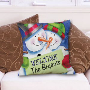 Personalized Snow Couple Throw Pillow