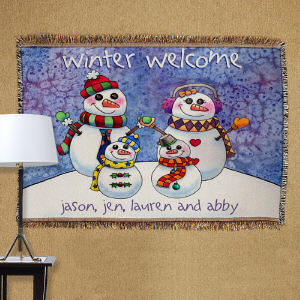 Personalized Snowman Family Tapestry