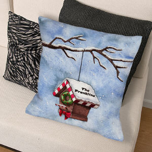 Personalized Christmas Birdhouse Pillow
