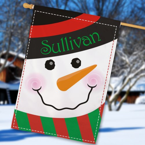 Snowman Welcome House Flag | Personalized Christmas Flags