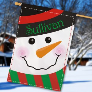Snowman Welcome House Flag