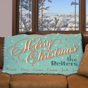 Personalized Merry Christmas Throw Blanket