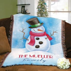 Personalized Snowman Throw Blanket