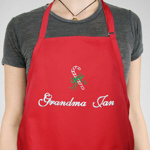 Personalized Candy Cane Apron