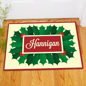 Personalized Holly and Berries Doormat