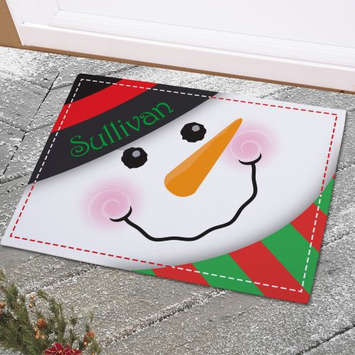 Snowman Welcome Doormat | Personalized Christmas Doormats