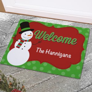 Personalized Snowman Welcome Doormat