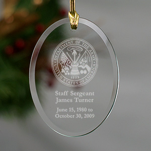 U.S. Army Memorial Personalized Oval Glass Ornament