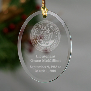 U.S. Navy Memorial Personalized Oval Glass Ornament | Memorial Ornaments