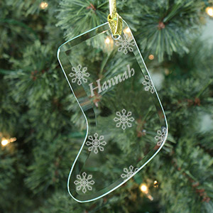 Engraved Snowflake Glass Stocking Ornament | Personalized Christmas Ornaments