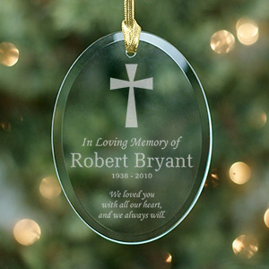 Engraved In Loving Memory Oval Glass Ornament | Christmas Ornaments Personalized