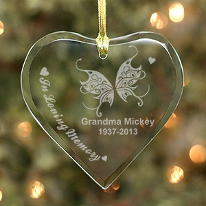 Engraved Memorial Heart Ornament
