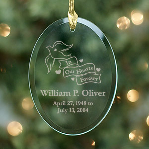 Engraved In Our Hearts Forever Oval Glass Ornament | Memorial Christmas Ornaments
