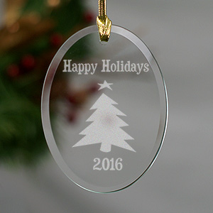 Happy Holidays Christmas Tree Glass Oval Ornament
