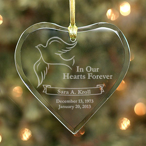 Engraved Remembrance Heart Ornament