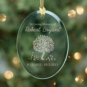 Engraved In Loving Memory Glass Ornament | Memorial Christmas Ornaments