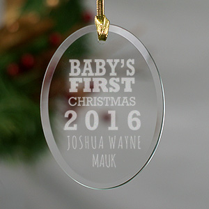 Engraved Baby's First Christmas Oval Glass Ornament 872434
