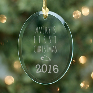 Engraved Baby's First Christmas Oval Glass Ornament 872444