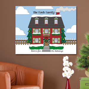 Personalized Home for the Holidays Wall Canvas