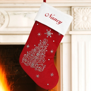Embroidered Tree Stocking