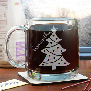 Engraved Christmas Tree Glass Mug