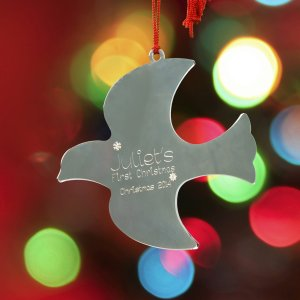 Engraved First Christmas Dove Ornament