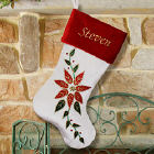 Embroidered Poinsettia Christmas Stocking