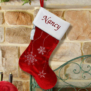 Snowflake Embroidered Christmas Stocking