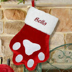 Embroidered Red Paw Christmas Stocking S34689