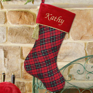Embroidered Red and Black Plaid Christmas Stocking