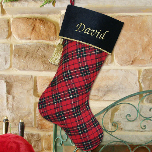 Embroidered Black and Red Plaid Christmas Stocking S39999