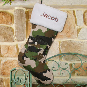 Embroidered Camo Christmas Stocking | Personalized Christmas Stockings