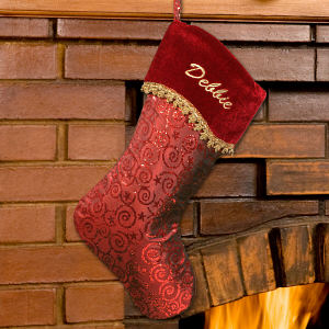 Embroidered Glitter Swirls Red Christmas Stocking